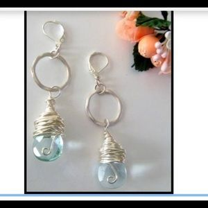 Aquamarine glass wire wrapped earrings